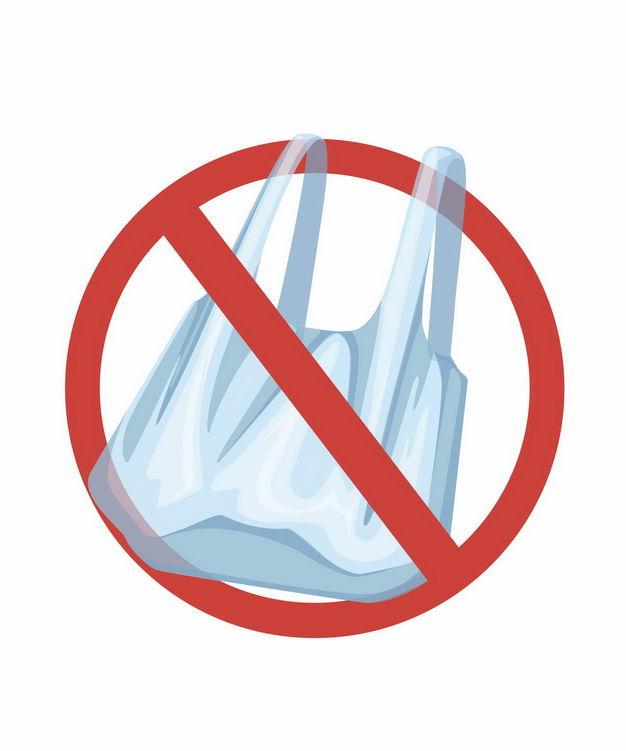 禁止不可降解塑料袋限塑令标志6054715矢量图片免抠素材 生活素材-第1张