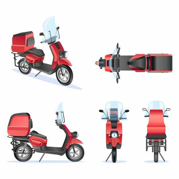 红色的外卖送货车快递车电动车摩托车6061422矢量图片免抠素材