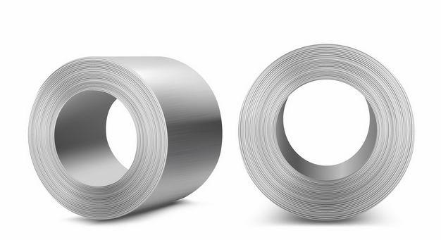 2个不同视角的镀锌卷钢不锈钢材3692858矢量图片免抠素材 工业农业-第1张