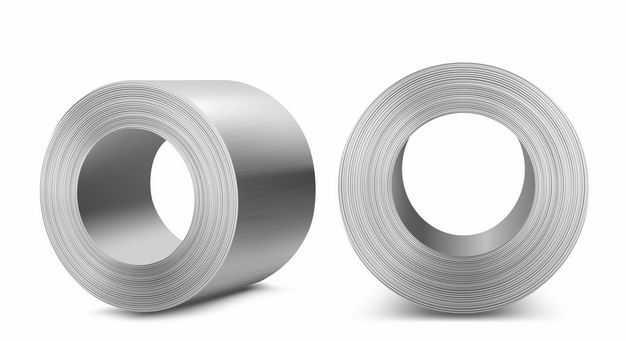 2个不同视角的镀锌卷钢不锈钢材3692858矢量图片免抠素材