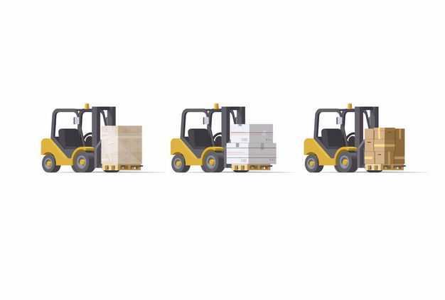 3辆叉车正在搬运货物物流行业6386520矢量图片免抠素材
