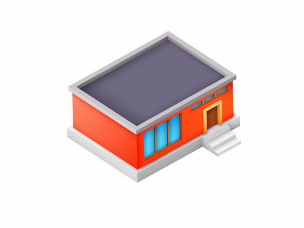 2.5D风格红色的平房小房子3670618矢量图片免抠素材 建筑装修-第1张