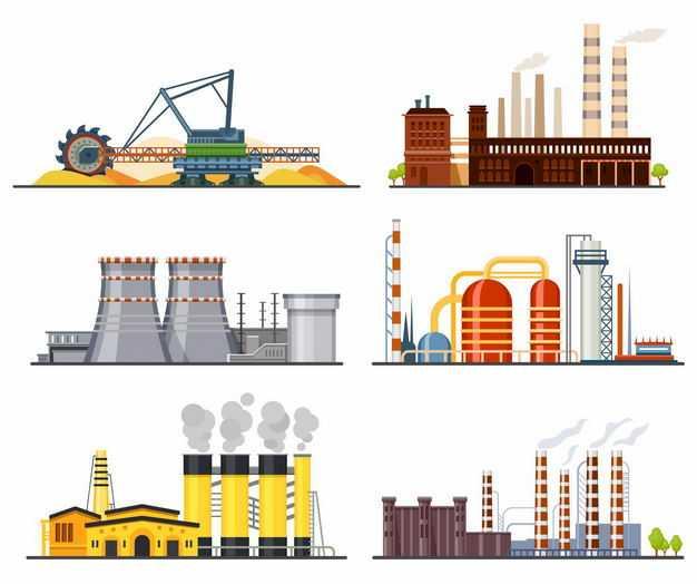 6款巨型矿藏挖掘机化工厂发电厂等工厂厂房8095315矢量图片免抠素材