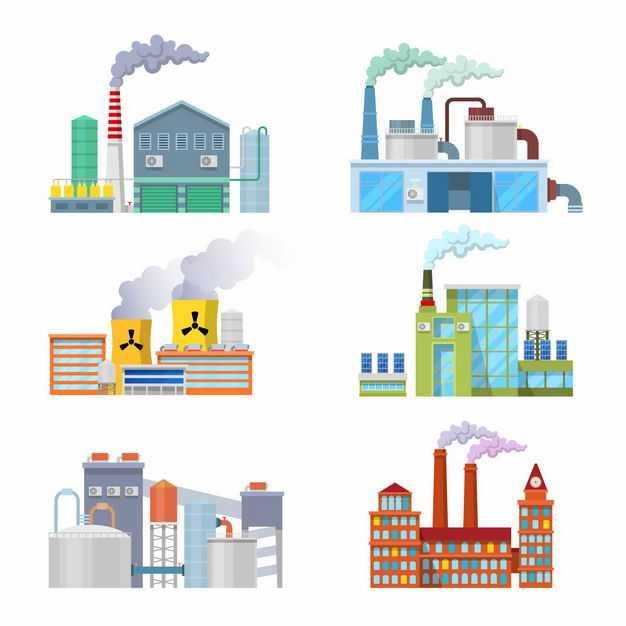 6款正在冒烟的发电厂或工厂烟囱6747306矢量图片免抠素材