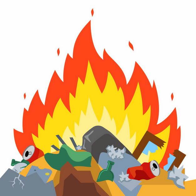 燃烧的垃圾堆垃圾焚烧垃圾处理9011013矢量图片免抠素材 生活素材-第1张