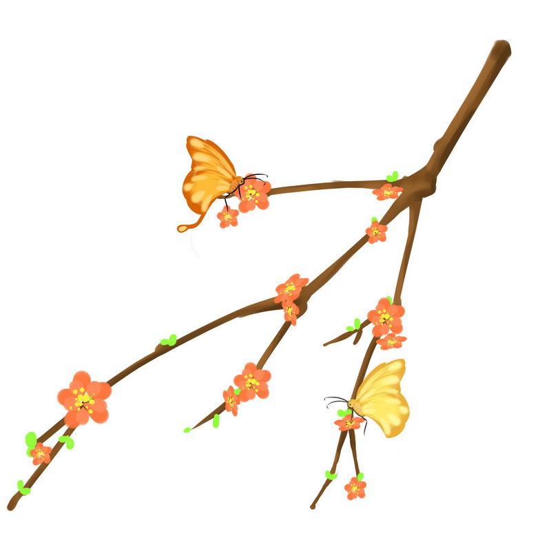 春天里桃花枝上盛开的桃花和蝴蝶6152743免抠图片素材 生物自然-第1张