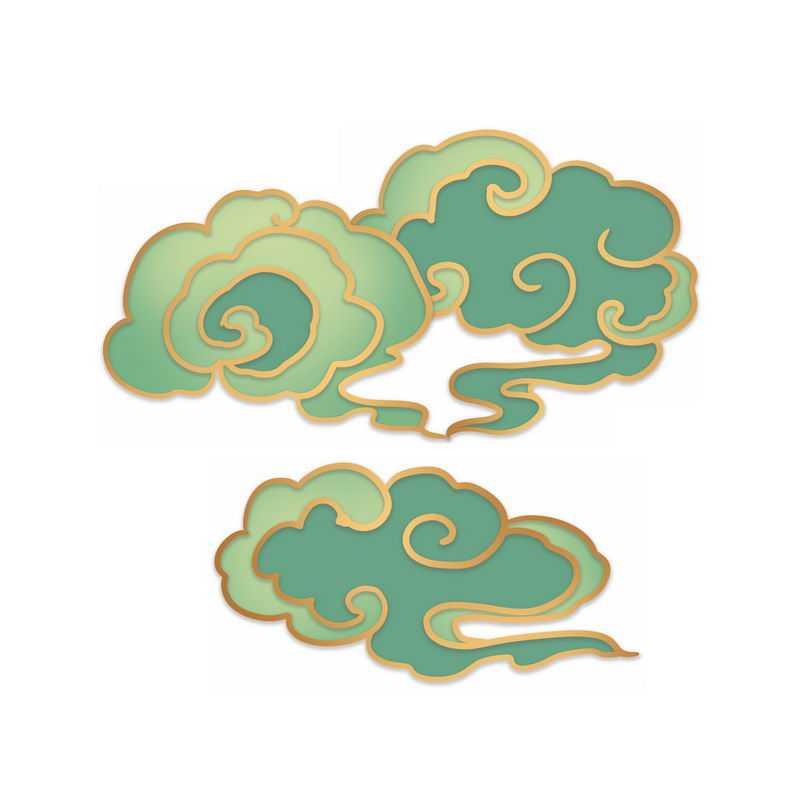 中国风金丝边绿色祥云图案8460435图片素材