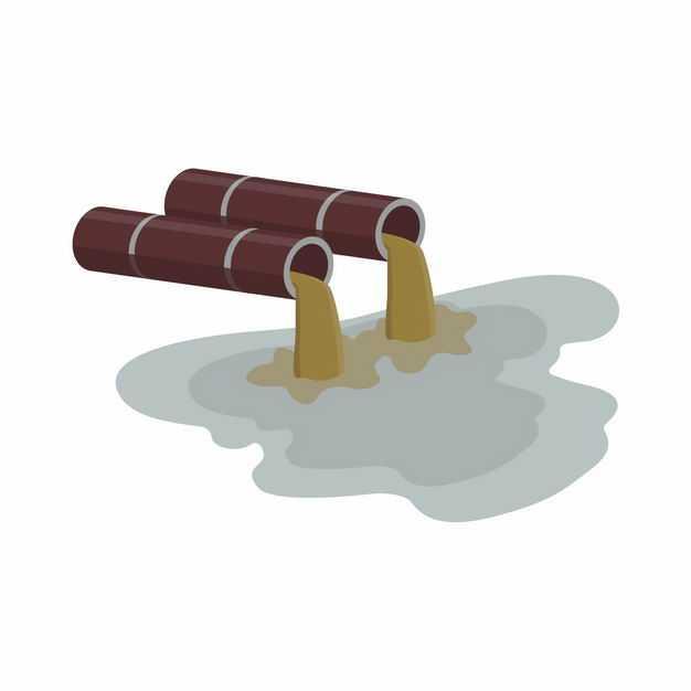 2个排污管道正在排放污水4066313矢量图片免抠素材