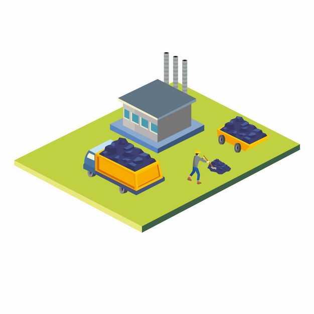 2.5D风格卡车和发电厂火力发电8943486矢量图片免抠素材