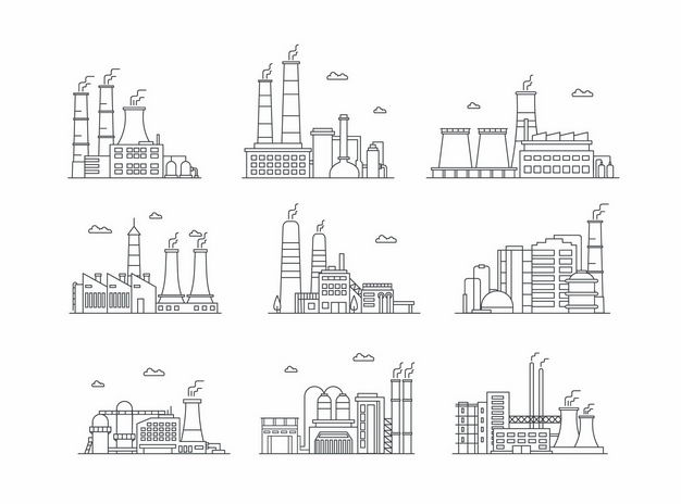9款黑色线条风格工厂化工厂发电厂3607444矢量图片免抠素材 工业农业-第1张