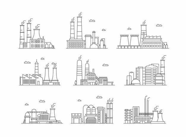 9款黑色线条风格工厂化工厂发电厂3607444矢量图片免抠素材