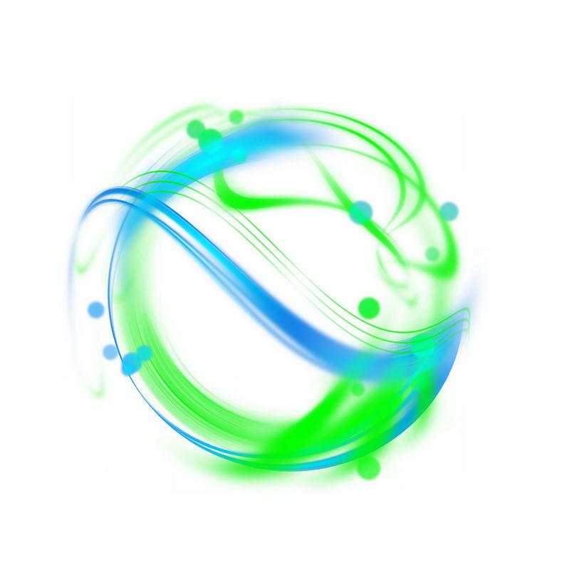 绚丽的绿色蓝色光芒光晕光圈发光抽象光球效果2148820免抠图片素材 效果元素-第1张