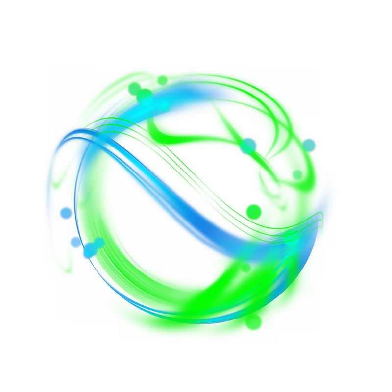 绚丽的绿色蓝色光芒光晕光圈发光抽象光球效果2148820免抠图片素材
