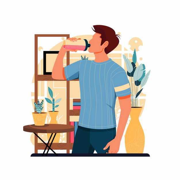 男人正在仰起脖子喝水手绘插画4692569矢量图片免抠素材