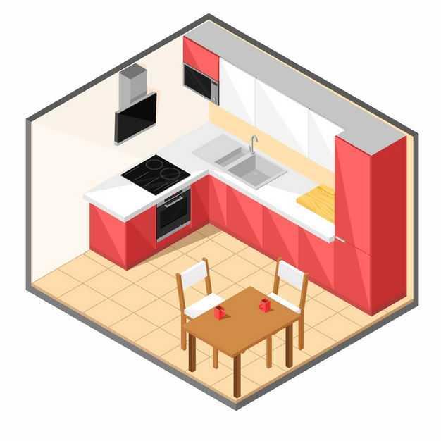 2.5D风格厨房和餐厅7623676矢量图片免抠素材