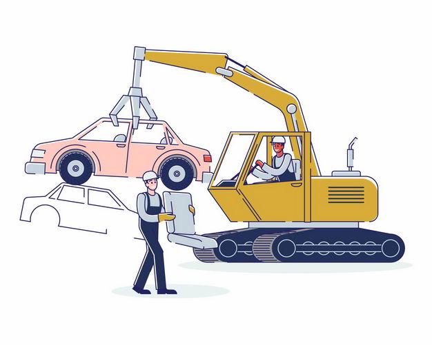 卡通吊车正在吊装报废汽车3333523矢量图片免抠素材 工业农业-第1张