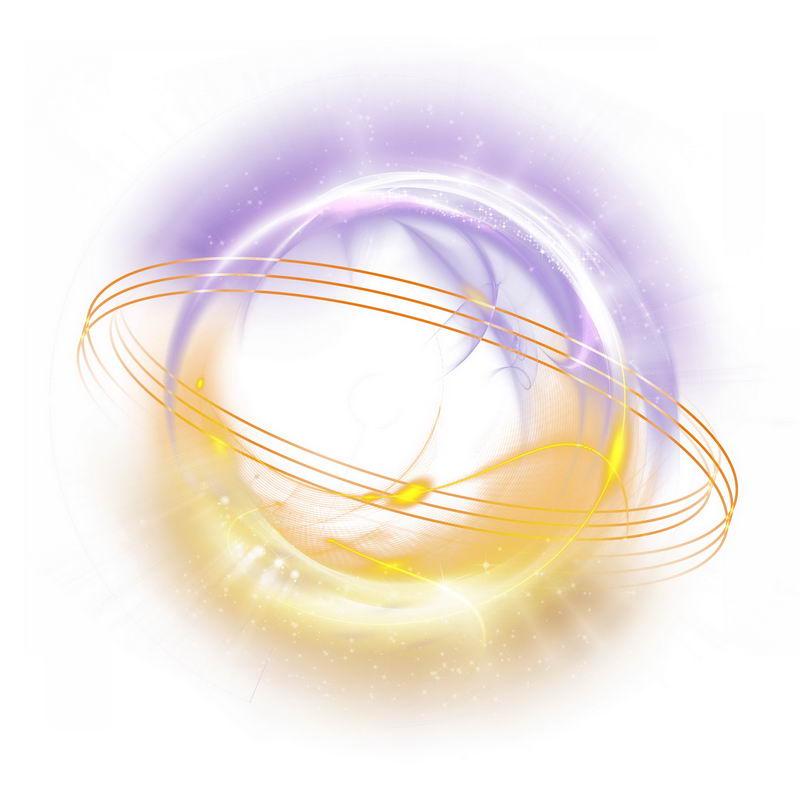 绚丽的紫色黄色光芒光晕光圈发光抽象光球效果2898522免抠图片素材 效果元素-第1张