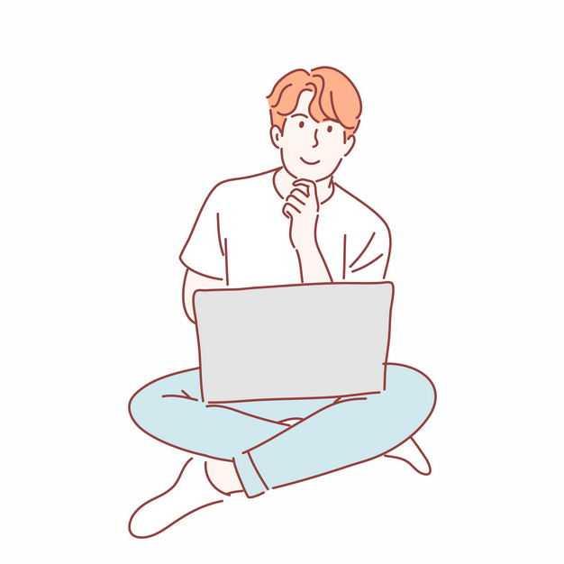 男人盘腿坐着使用笔记本电脑手绘插画2930072矢量图片免抠素材