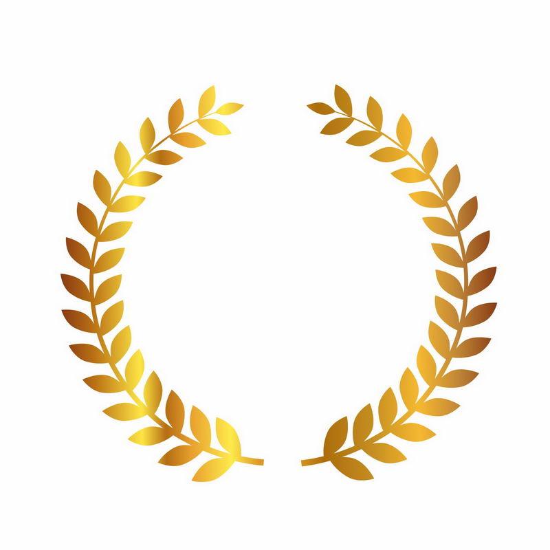 金色麦穗树叶徽章标志logo边框装饰3161111png图片免抠素材 标志LOGO-第1张
