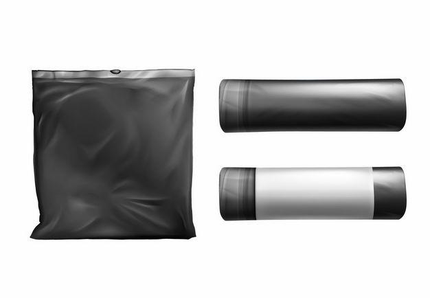 黑色垃圾袋加厚点断式垃圾袋1397793矢量图片免抠素材 生活素材-第1张