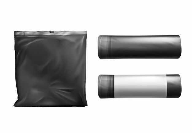 黑色垃圾袋加厚点断式垃圾袋1397793矢量图片免抠素材