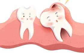 卡通牙齿肿痛牙龈肿胀蛀牙智齿示意图2638067免抠图片素材