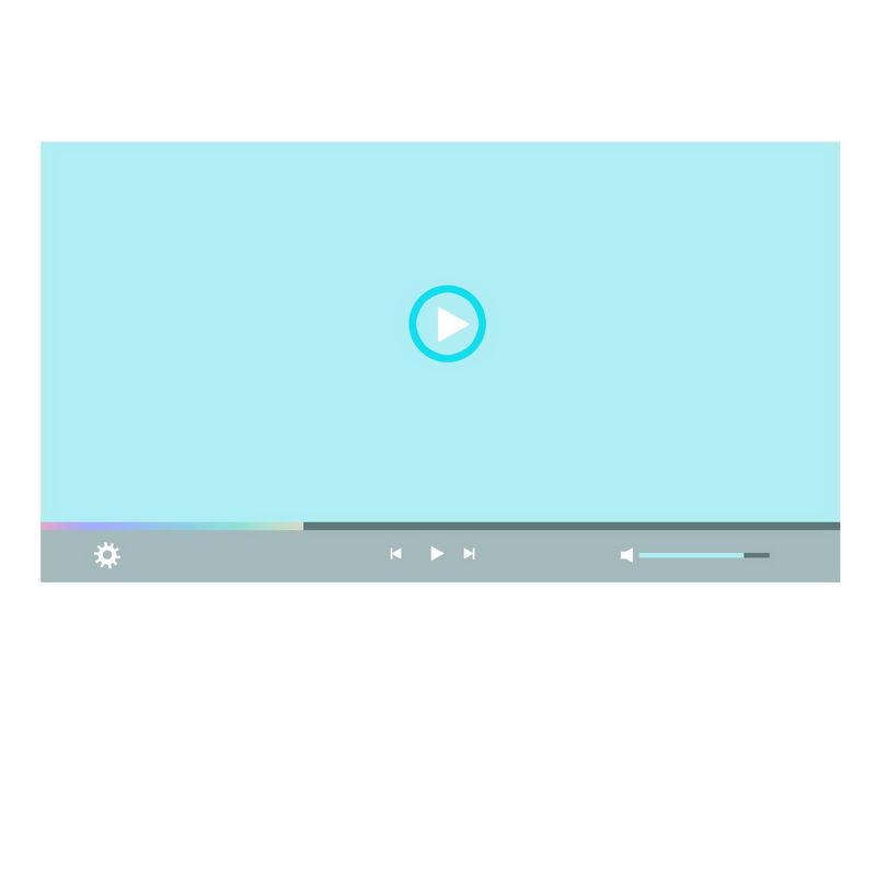 扁平化风格蓝色电脑视频播放器界面设计3378519图片素材 UI-第1张
