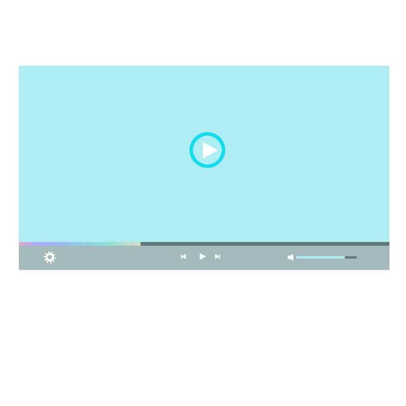 扁平化风格蓝色电脑视频播放器界面设计3378519图片素材