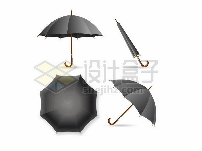 黑色雨伞的四种状态7319293矢量图片免抠素材 生活素材-第1张