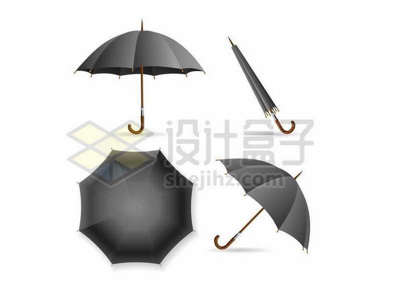 黑色雨伞的四种状态7319293矢量图片免抠素材