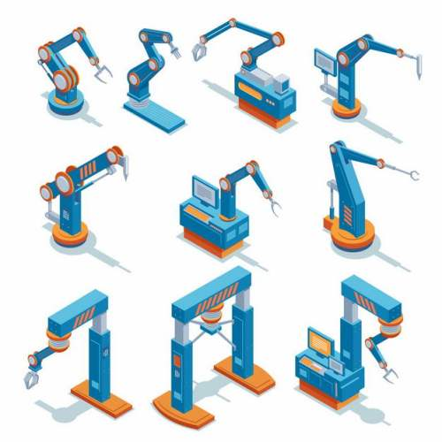10款2.5D风格蓝色工业机器人机械手臂6560465矢量图片免抠素材