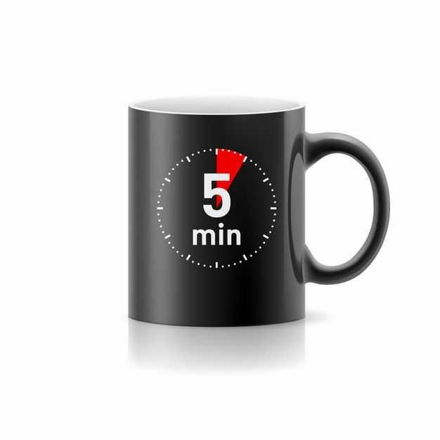 印着时间的黑色马克杯水杯6633230矢量图片免抠素材
