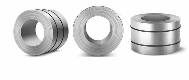 3个不同视角的镀锌卷钢不锈钢材8060709矢量图片免抠素材
