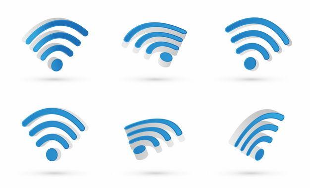 6个不同角度的3D立体蓝色wifi信号标志8578845矢量图片免抠素材 标志LOGO-第1张