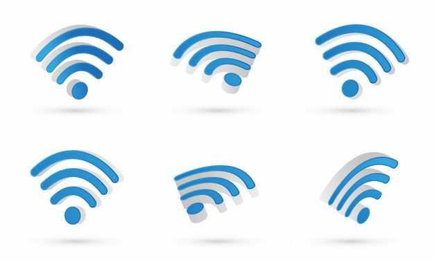 6个不同角度的3D立体蓝色wifi信号标志8578845矢量图片免抠素材