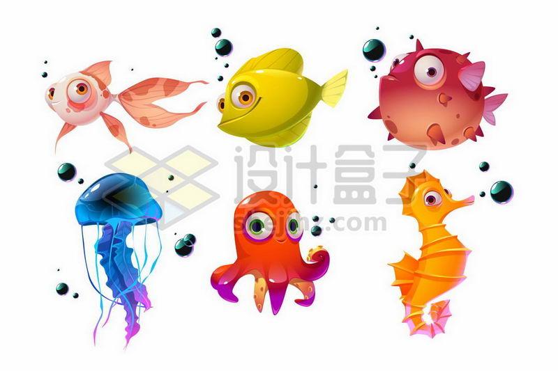 可爱的卡通金鱼河豚鱼水母章鱼和海马1159739矢量图片免抠素材 生物自然-第1张