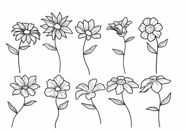 10款黑色线条手绘风格小花花朵鲜花2663609矢量图片免抠素材