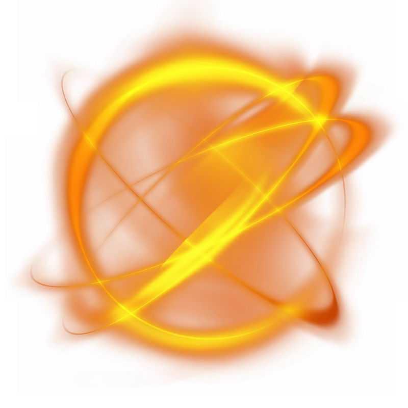 绚丽的黄色光芒光晕光圈发光抽象光球效果2332941免抠图片素材