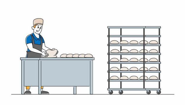 卡通厨师正在做面包1337447矢量图片免抠素材 生活素材-第1张