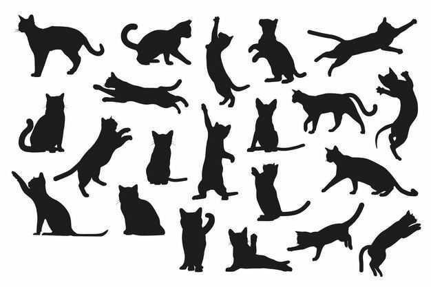 各种猫咪动作动物剪影2695754矢量图片免抠素材