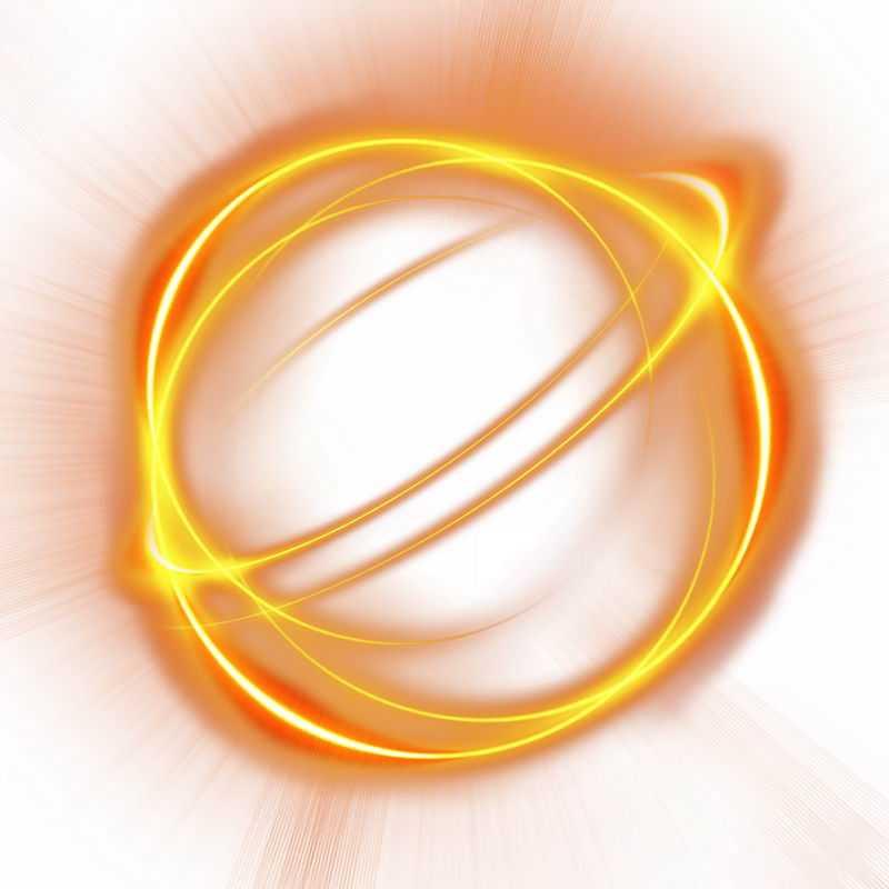 绚丽的黄色光芒光晕光圈发光抽象光球效果1960181免抠图片素材