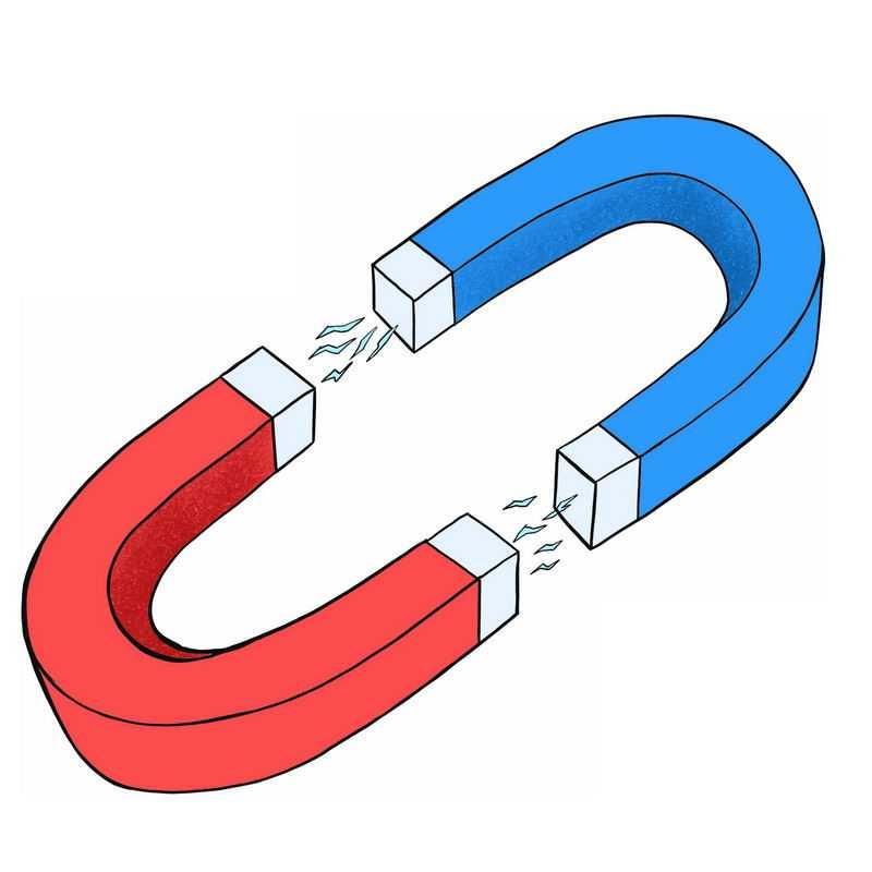 红色和蓝色的强磁铁吸铁石物理实验仪器2687153免抠图片素材