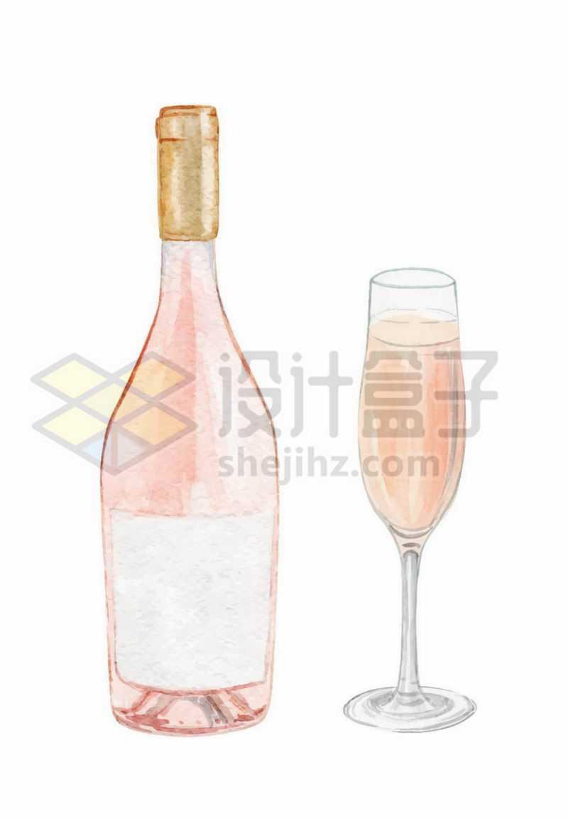 香槟酒瓶和高脚杯手绘插画2590308矢量图片免抠素材