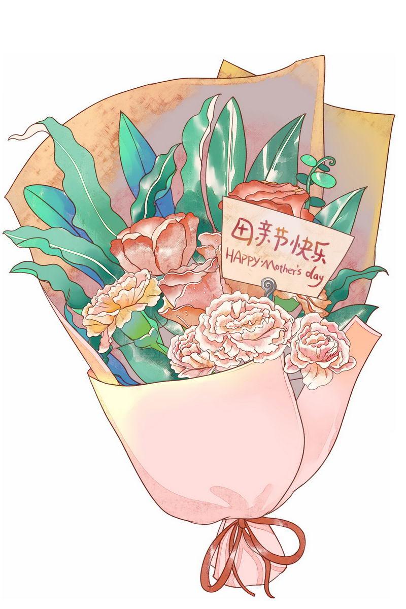 一束鲜花康乃馨花朵中放着的卡片上写着母亲节快乐1034273图片素材 节日素材-第1张