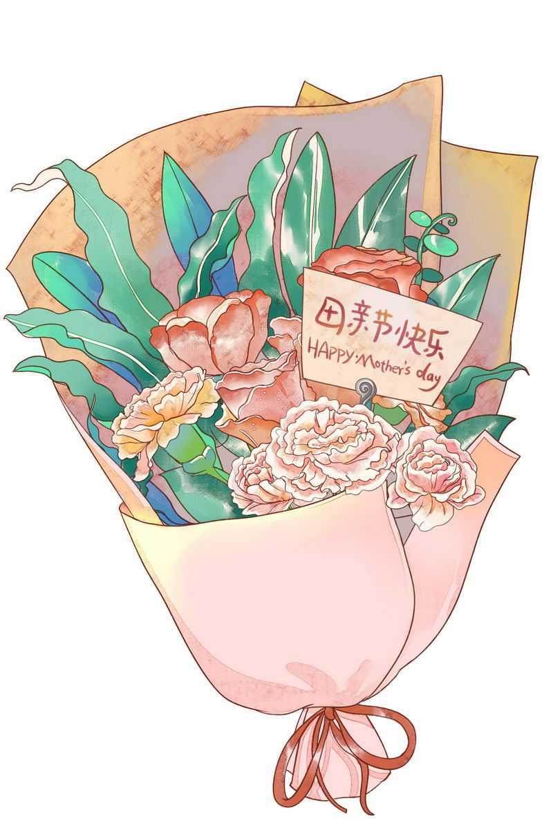 一束鲜花康乃馨花朵中放着的卡片上写着母亲节快乐1034273图片素材