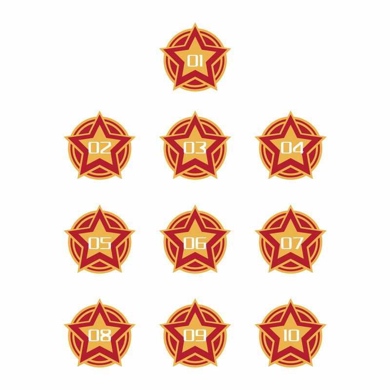 前苏联风格红色五角星序列号劳动节数字序号7950294AI矢量图片免抠素材
