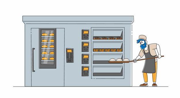 卡通厨师正在烘焙面包1023498矢量图片免抠素材 健康医疗-第1张