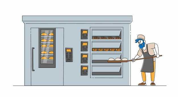 卡通厨师正在烘焙面包1023498矢量图片免抠素材