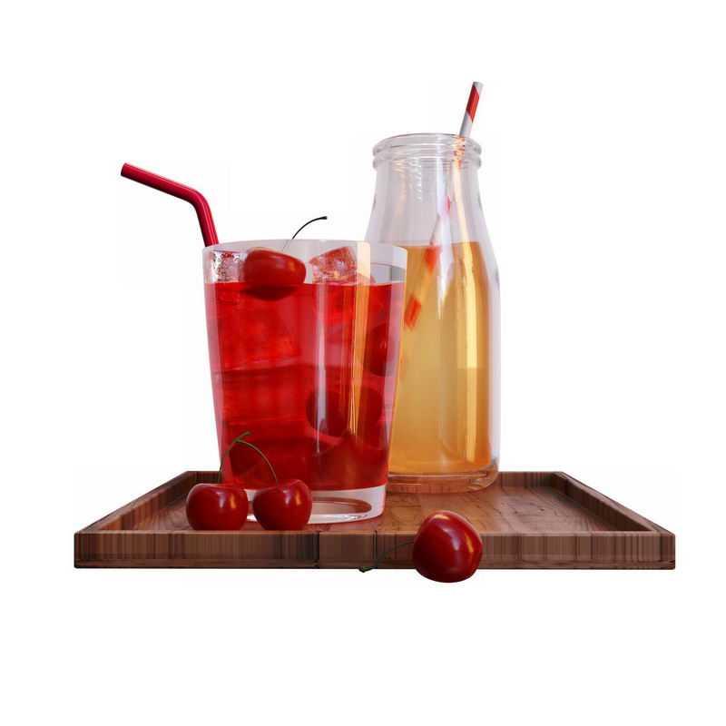 木头盘子上的樱桃汁饮料和鸡尾酒3318160图片素材