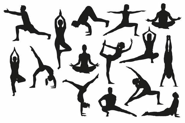 各种瑜伽动作人物剪影9906174矢量图片免抠素材 人物素材-第1张